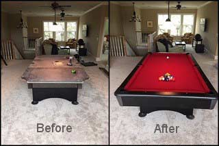 Professional pool table recovering in Seattle